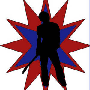 Free Clipart Picture of a Rockstar Guitarist in a Red and Blue Burst