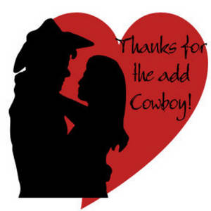 Free Clipart Picture of a Romantic Cowboy and Cowgirl - Thanks for the Add