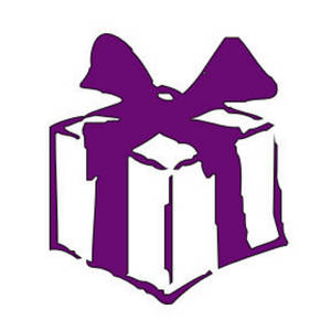 Free Clipart Picture of a Gift with a Purple Ribbon
