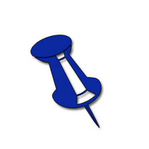 Free Clipart Picture of a Blue Push Pin