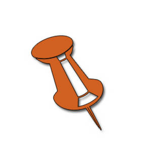Free Clipart Picture of an Orange Push Pin