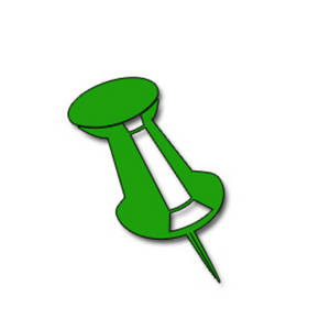 Free Clipart Picture of a Green Push Pin