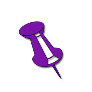 Free Clipart Picture of a Purple Push Pin