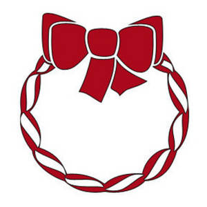 Free Clipart Picture of a Candy Cane Wreath