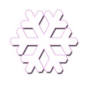 Free Clipart Picture of a Geometric Shaped Snowflake, Pink Edged