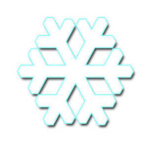 Free Clipart Image of a Geometric Shaped Snowflake, Turquoise Edged
