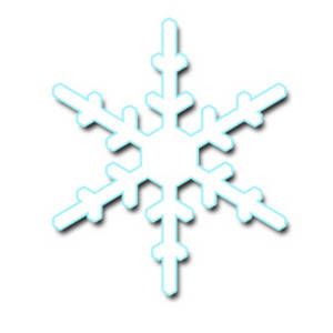 Free Clipart Picture of Low Res Snowflake with a Light Blue Outline