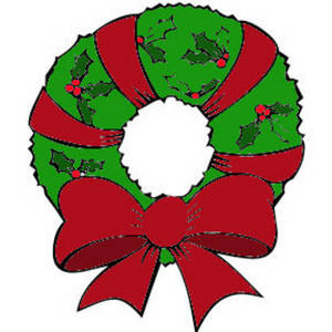 Free Color Clipart Picture of a Christmas Wreath Wrapped with a Red Ribbon
