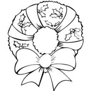 Free Black and White Clipart Illustration of an Xmas Wreath