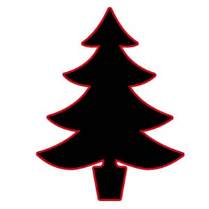 Free Silhouette Clipart Image of a Christmas Tree - Black Outlined in Red
