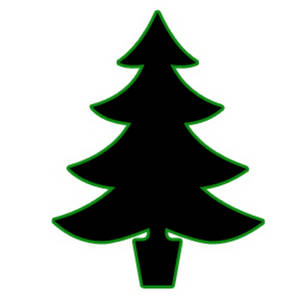 Free Silhouette Clipart Picture of a Christmas Tree - Black Outlined in Green