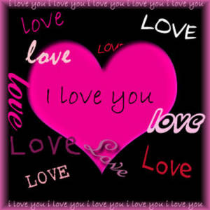 Free Clipart Picture of a Heart Covered with the Word Love