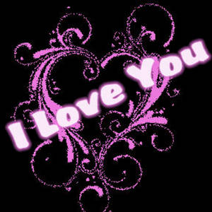 Free Clipart Picture of a Black and Pink Valentine Graphic that Says I Love You