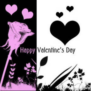 Free Myspace Clipart Picture of a Black, Pink and White Valentine Graphic