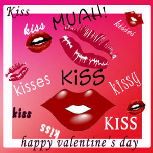 Free Myspace Clipart Picture of Lots of Lips and Kisses