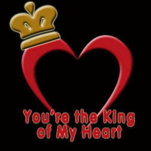 "Free Myspace Clipart Picture of a Crowned Heart with ""You're the King of My Heart"""