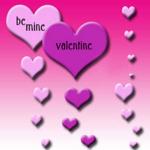 "Free Myspace Clipart Picture of Pink Hearts that say ""Be Mine Valentine"""