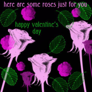 Free Myspace Clipart Picture of a Pink Roses and Green Leaves Valentine