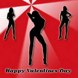 Free Valentine Clipart Picture of Sexy Silhouettes on a Retro Background