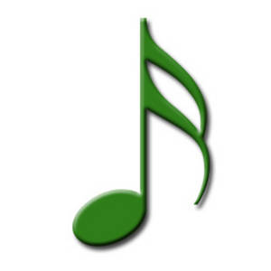 Free Clipart Image of a 16th Note for Written Music, Green