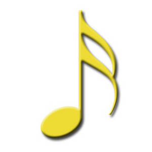 Free Clipart Image of a Yellow 16th Note for Written Music
