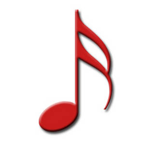 Free Clipart Image of a Red 16th Note