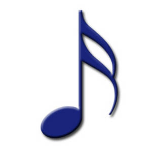 Free Clipart Picture of a Blue 16th Note