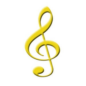 Free Music Clipart Image of a Yellow Treble Clef