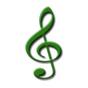 Free Music Clipart Image of a Green Treble Clef