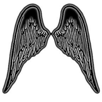 Free Clipart Picture of Dark Gray Gradient Wings