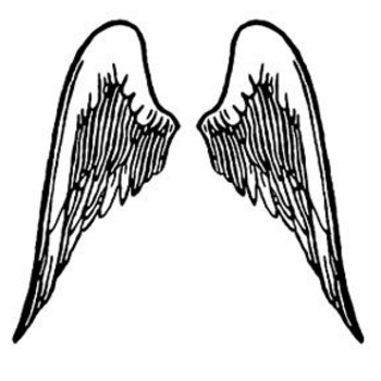 Free Clipart Picture of Black and White Wings