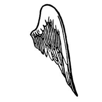 Free Clipart Picture of a Black and White Wing