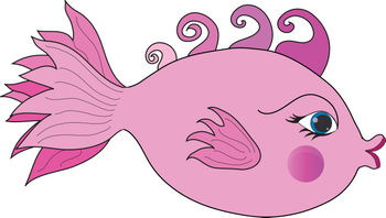 Free Clip Art Picture of a Pink Girl Fish with Kissing Lips and Curled Hair