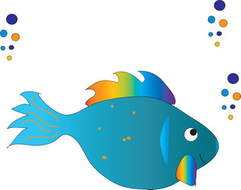 Free Clip Art Picture of a Tropical Fish with Bubbles