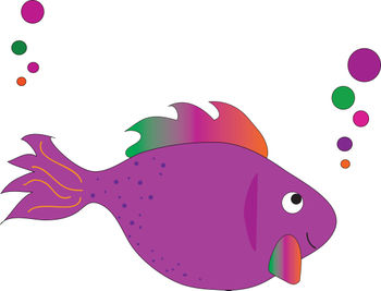 Free Clip Art Picture of a Magenta Rainbow Tropical Fish