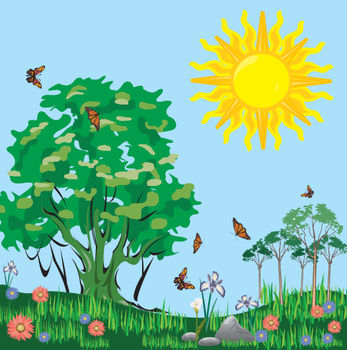 Free Clip Art Picture of a Sunny Field Full of Butterflies