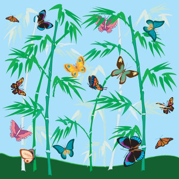 Free Clip Art Picture of a Butterfly Garden