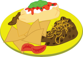 Clip Art Illustration of a Plate of Mexican Food