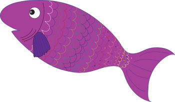 Free Clip Art Picture of a Cute Purple Fish