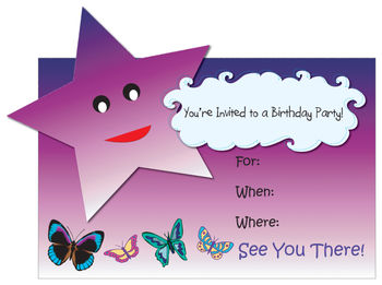 Free Clip Art Image of a Birthday Party Invitation