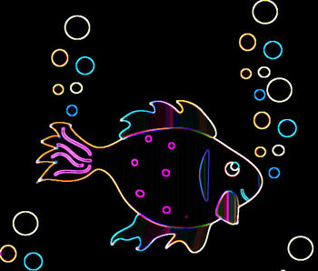 Free Clip Art Picture of an Illuminated Fish