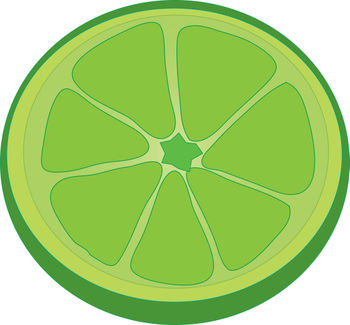 Free Clip Art Illustration of a Lime Slice