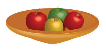 Free Clip Art Vector Illustration of a Bowl of Apples