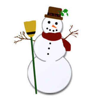 Free Clip Art Picture of a Rustic Snowman