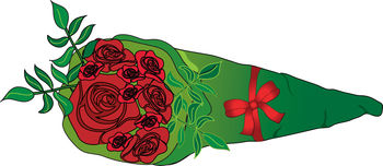 Free Clip Art Picture of a Bouquet of Roses in Florist Paper