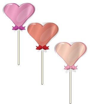 Free Clip Art Picture of Heart Shaped Lollipops Wrapped with Celophane