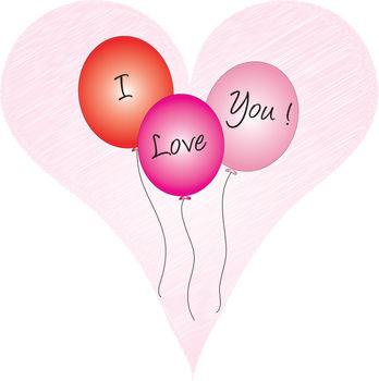 Free Clip Art Illustration of Valentine Balloons