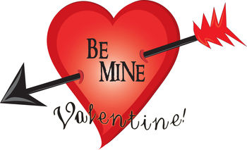 Free Clip Art Picture of a Be Mine Heart with an Arrow Through It