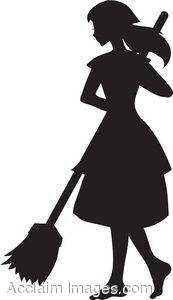 Silhouette of a Girl Sweeping
