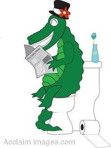 Cartoon Crocodile Reading on the Toilet